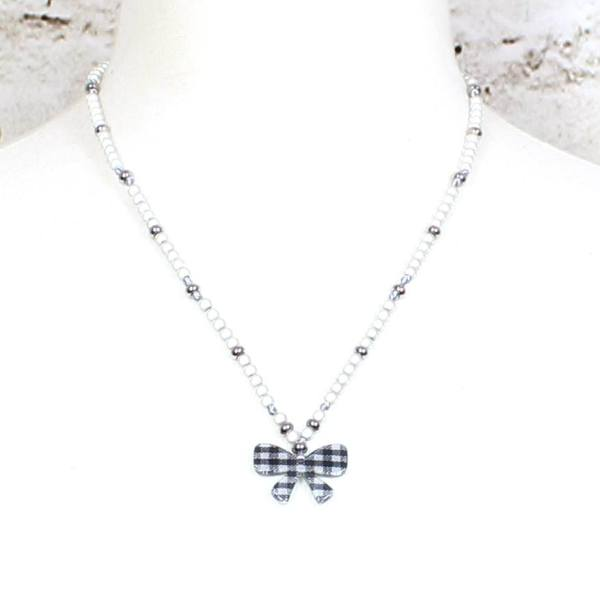 Vichy Bow mama jewels 002 - Liberty print BOW  teething nursing fiddle necklace 'Vichy check'