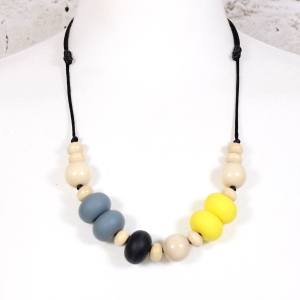 GILLY YELLOW GREY TEETHING NECKLACE SILICONE 1 - Gilly silicone teething necklace DESIGN YOUR OWN BEACH STRIPES !