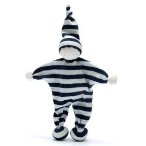Navy blue stripes baby comforter comfort toy