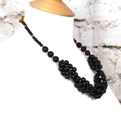 Tani jet black wooden baby proof necklace 001 - Tani Jet black wooden  teething nursing fiddle necklace