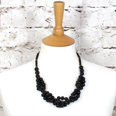 Tani jet black wooden baby proof necklace 003 - Tani Jet black wooden  teething nursing fiddle necklace
