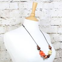 GILLY BURNT ORANGE COPPER 3 Copy - Gilly dark wood and silicone teething nursing necklace burnt orange