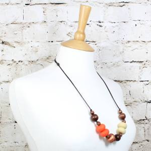 GILLY BURNT ORANGE COPPER 3 Copy - Gilly dark wood and silicone teething nursing necklace burnt orange#