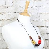 GILLY MUSTARD RED 3 - Gilly dark wood and silicone teething nursing necklace red and mustard