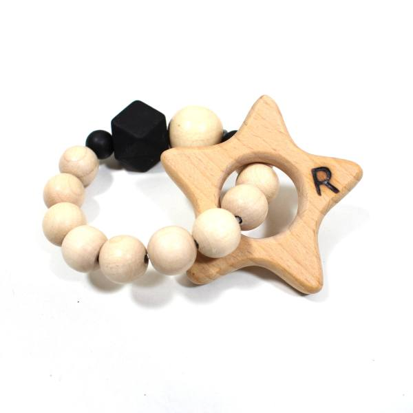 star teether personalised 1 - Personalised Star beechwood natural wood and silicone teething toy