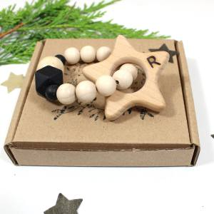 star teether personalised packaging 2 - Personalised Reindeer beechwood natural wood and silicone teething toy
