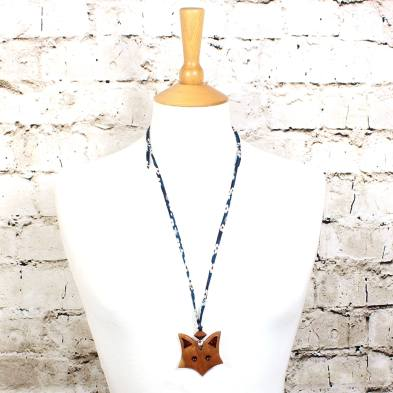 Fox on navy blue teething necklace 1 - Natural wood Fox  teething nursing fiddle necklace pendant on Liberty navy blue cord