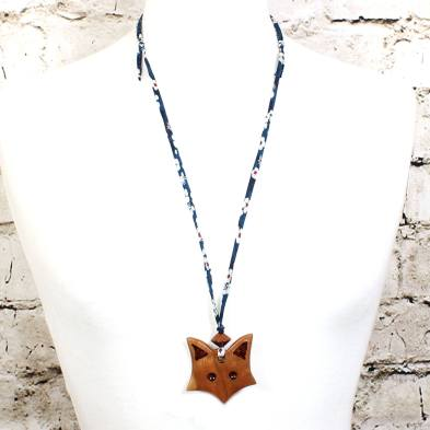 Fox on navy blue teething necklace 2 - Natural wood Fox  teething nursing fiddle necklace pendant on Liberty navy blue cord