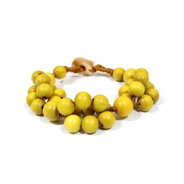 tani yellow bracelet 2 - Tani yellow wooden teething nursing fiddle bracelet