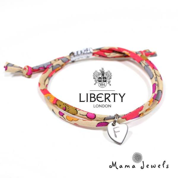 liberty pink bracelet personalised - liberty print bracelet personalised initial - pinks