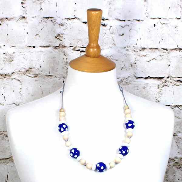 DOTTY BLUE 1 - Dotty Blue wood silicone teething nursing fiddle necklace