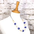 DOTTY BLUE 2 - Dotty Blue wood silicone teething nursing fiddle necklace