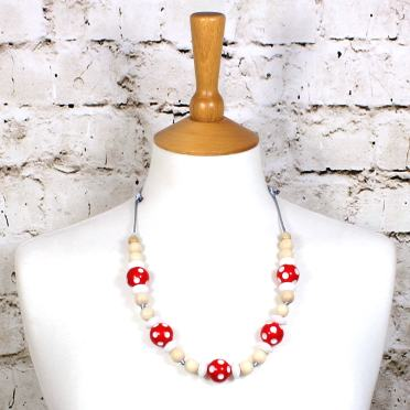 DOTTY RED 1 - Dotty Red wood silicone teething nursing fiddle necklace