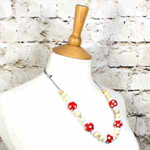 DOTTY RED 2 - Dotty Red wood silicone teething nursing fiddle necklace