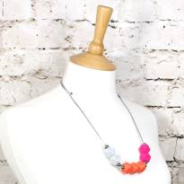 neon marble 2018 1 - NEON pink orange GEO BEADS silicone teething necklace