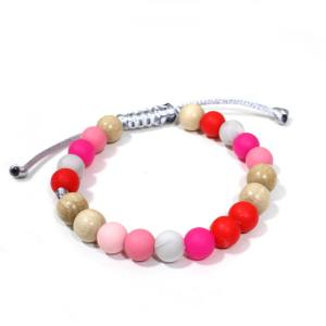 prettypinksteething bracelets 2 - Elements Pretty pink Silicone wood teething baby proof bracelet