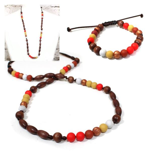 Red earth teething necklace gift set - Teething nursing necklace bracelet gift set-Elements Red earth