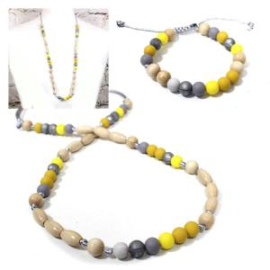 mustard grey yellow elements gift set - Teething nursing necklace bracelet gift set-Elements Mustard yellow grey