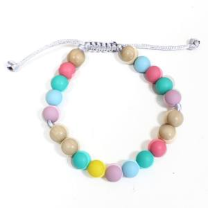 Elements PASTEL RAINBOW LIGHT WOOD BRACELET 4 - Elements Pastel Rainbow Silicone light wood teething baby proof bracelet