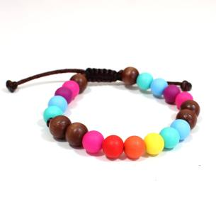 Elements RAINBOW Dark wood BRACELET 2 - Elements Rainbow Silicone dark wood teething baby proof bracelet