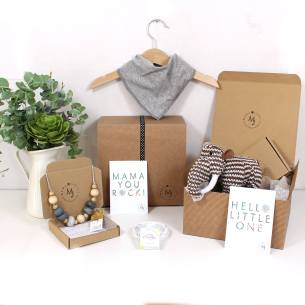 GREY MAMMOTH HAMPER 1 - Mum and baby gift hamper set for baby girl or boy Woolly grey mammoth