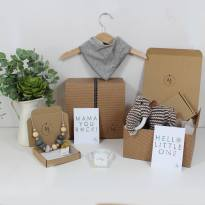GREY MAMMOTH HAMPER - Mum and baby gift hamper set for baby girl or boy Woolly grey mammoth