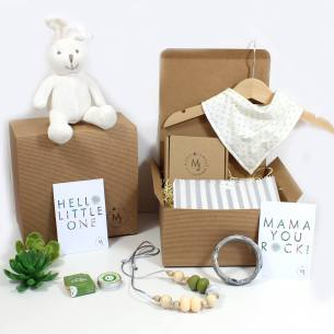 bunny green polka mum and baby hamper - Mum and baby gift hamper set for baby girl or boy natural green bunny