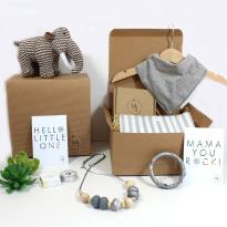 mum and baby hamper mammoth grey - Mum and baby gift hamper set for baby girl or boy Woolly grey mammoth