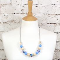 POLLY BLUE 1 TEETHING NECKLACE - POLLY Floral silicone teething necklace blue