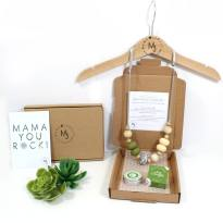 necklace and lip set green 1 - New Mum Gift set Teething necklace and balm green