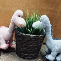40141601 1962435843824551 3920433018073776128 n - Organic cotton Baby blue diplodocus dinosaur knitted toy