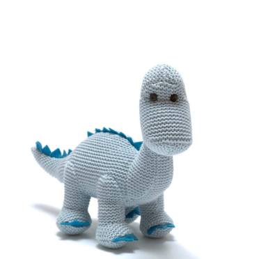 Sweet Baby Diplo Blue - Organic cotton Baby blue diplodocus dinosaur knitted toy
