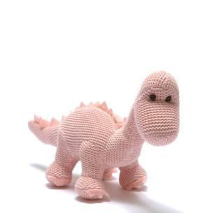 Sweet Baby Diplo Pink - Organic cotton Baby pink diplodocus dinosaur knitted toy