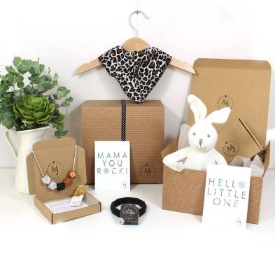 JUNGLE HAMPER 2 WITH BUNNY 1 - Funky leopard print Mama and baby gift hamper set for baby girl or boy