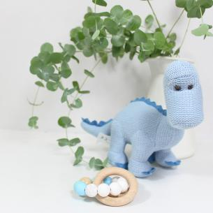 DINO AND TEETHER GIFT BOX FOR BABY BOY 2 - Baby dinosaur and personalised teething toy gift box set for baby