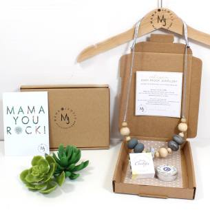 mini mum baby hampers GREY necklace and tonic 1 - New Mum Gift set Teething necklace and balm grey