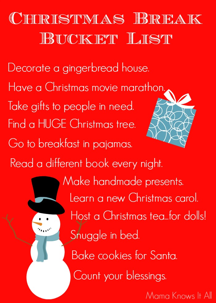 Christmas Break Bucket List Mama Knows It All