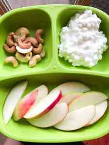 Toddler meal ideas: cottage cheese, apple, and nuts