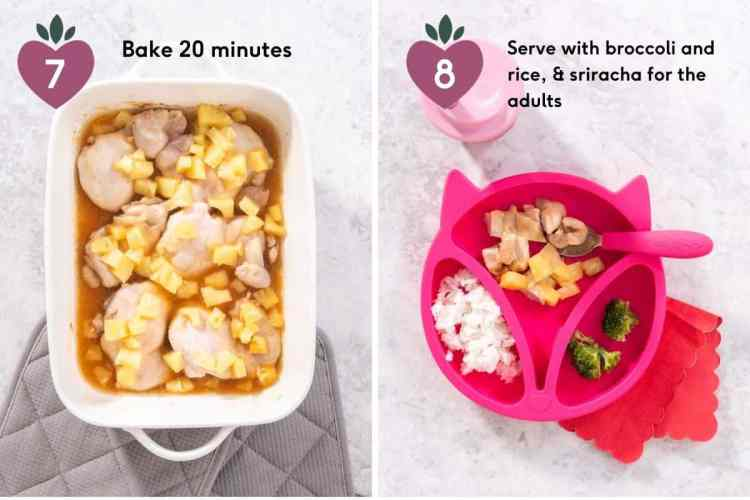 making pineapple baked chicken recipe in the oven with pineapple pieces and on a pink kids plate