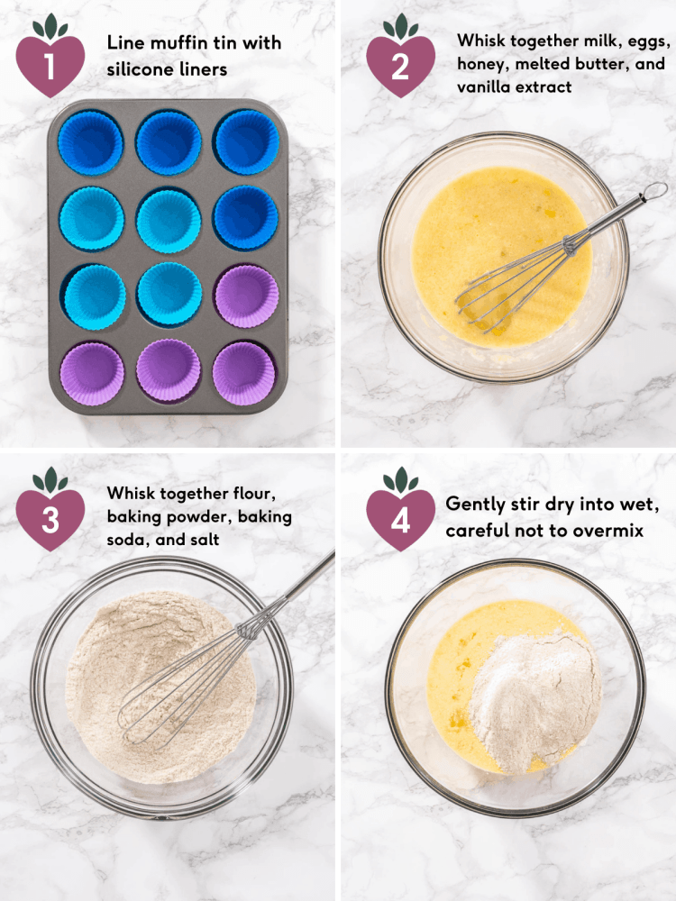 steps to make healthy strawberry muffins with whole wheat flour using silicone muffin liners and a medium bowl and a large bowl