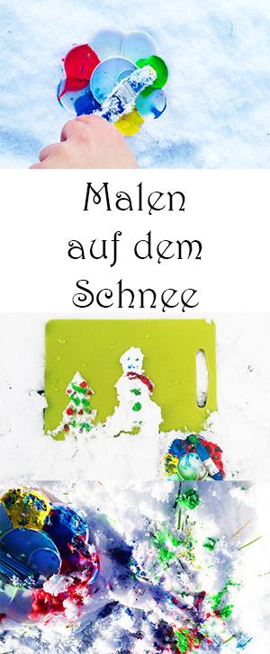 Spielen im Winter mit Schnee - Malen mit Kindern