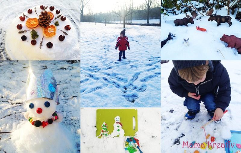 Spiele mit Kindern im Winter im Schnee