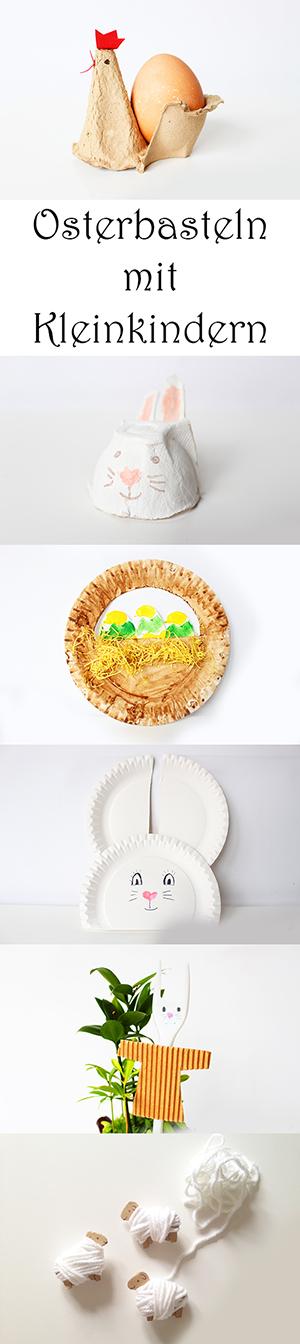 Osterbasteln mit Kleinkindern aus Upcycling-Materialien - Eierkartons, Pappteller, Pappe