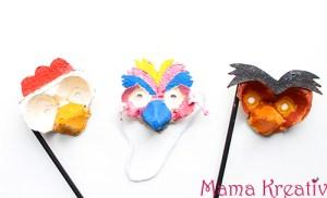 Vogelmasken aus Eierkarton basteln