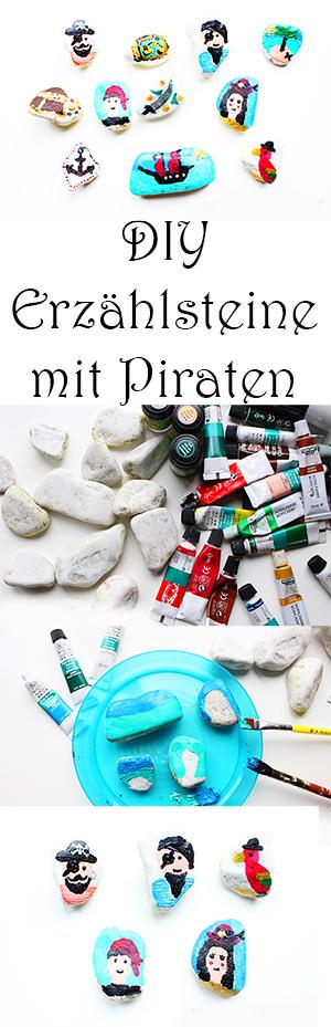 Erzählsteine mit Piraten selber machen für Kinder - Steine bemalen