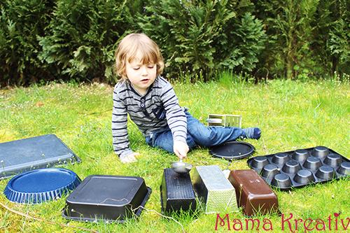 Musik mit töpfen machen, musik in der küche, musikinstrumente selber machen