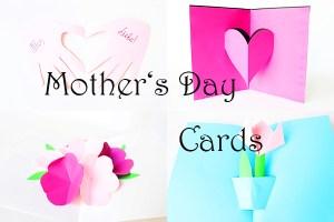 Basteln mit Papier: 4 schöne Pop-up Karten zum Muttertag + Video