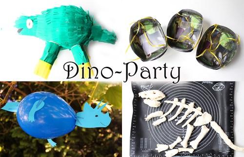 dino party dinosaurier geburtstag pinata selber machen ballons knochen eier