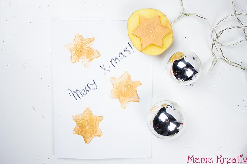 weihnachtskarten mit kindern basteln mit kartoffelstempel