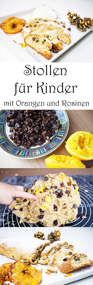 Stollen für Kinder mit Orangen und Rosinen - Weihnachtsstollen Rezept mit Quark schnell und einfach